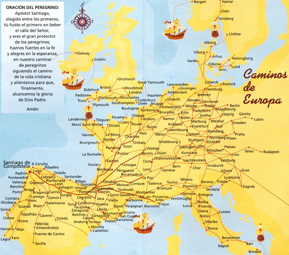 Europäische Pilgerwege nach Santiago