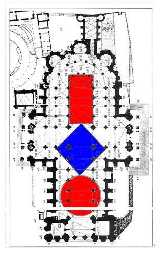 Gratstafeln im Grundriss von Chartres
